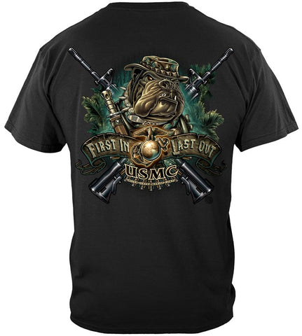 USMC Series T-shirt, Marine Devil Dog First In Last Out (JB212)
