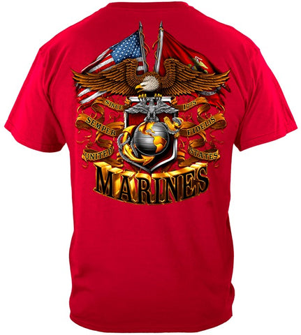 USMC Double Flag T-shirt, Foil Stamp