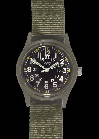 MWC Classic 1960s/70s US Pattern Olive Drab Vietnam Watch on Olive Green Military Strap