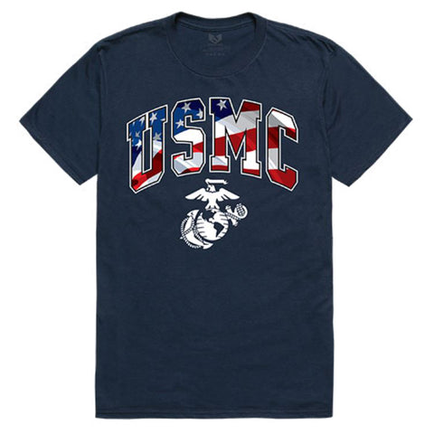 US Marines logo graphic T-shirt (USA flag background)