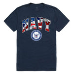 US Navy logo T-shirt (USA flag background)