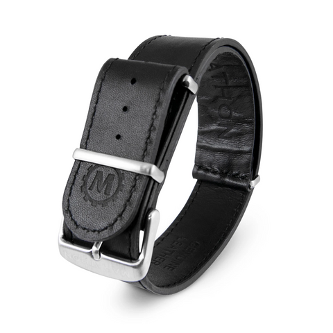 MARATHON 20mm Leather NATO Watch Band/Strap with Stainless Steel Square Buckle