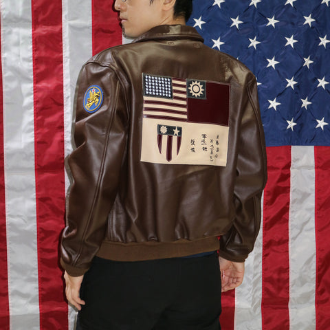 A-2 Leather Flight Jacket, Flying Tiger 23rd - Seal Brown Horsehide