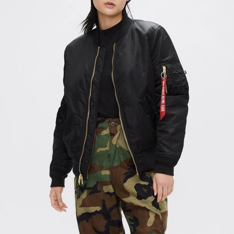 ALPHA MA-1 W FLIGHT JACKET (BLACK)
