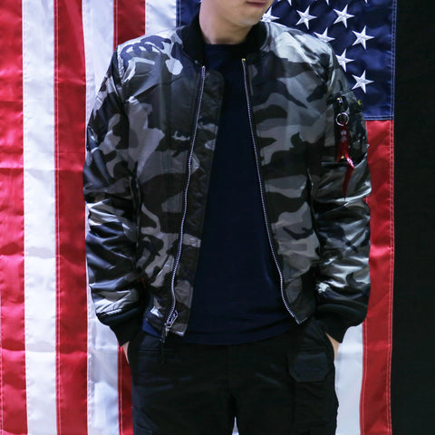 ALPHA MA-1 飛行外套修身版 (黑迷彩) ALPHA MA-1 FLIGHT JACKET SLIM FIT (TONAL BLACK CAMO)