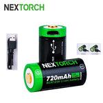 NEXTORCH 720mAh RCR123 USB Rechargeable Li-ion Battery