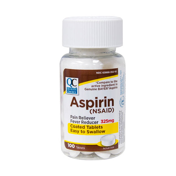 ASPIRIN 325MG COATED TABLETS 100CT (BAYER)