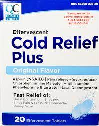 COLD RELIEF EFFERVESCENT TAB 20EA (ALKA SELTZER PLUS COLD)