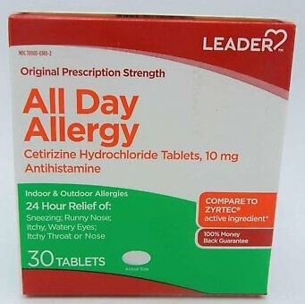 LEADER(TM) Allergy Relief All Day 10mg Tablets 30 ct (Compare to Zyrtec)