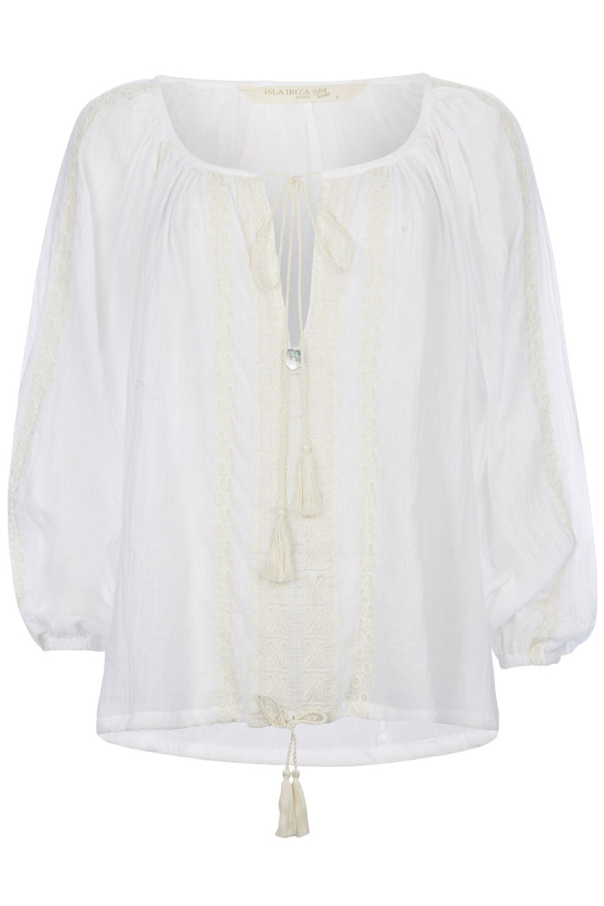 Isla Ibiza Blouse Embroidery White