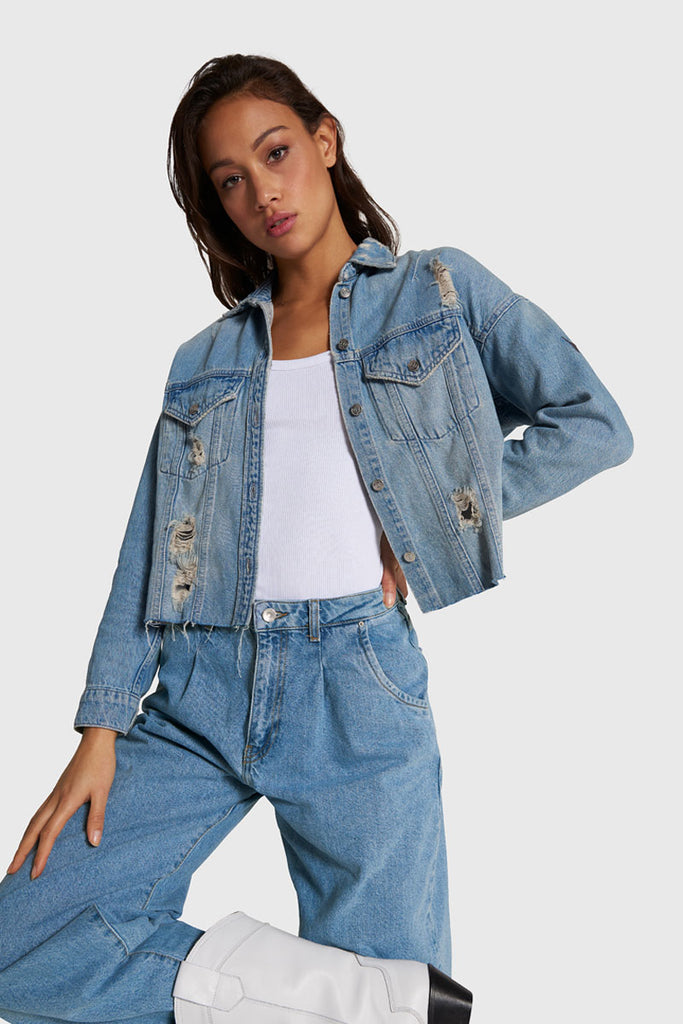 ALIX ripped denim jacket - blue