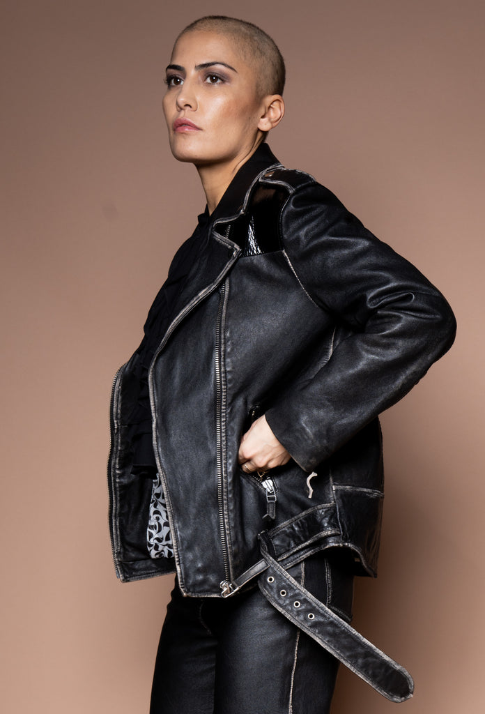 "Iconic27 ""rub off"" vinyl leather biker jacket"