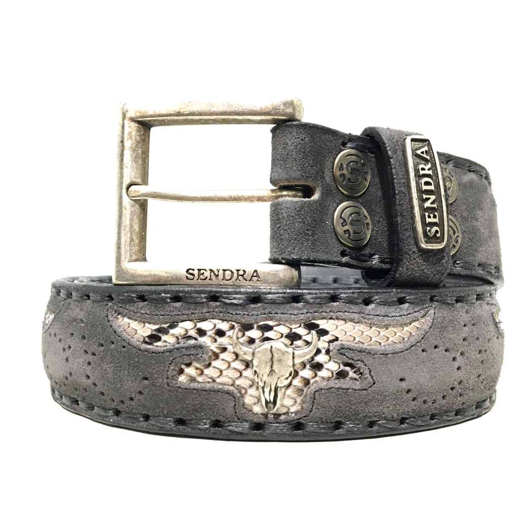 Sendra belt - Buffalo skulls antraciet
