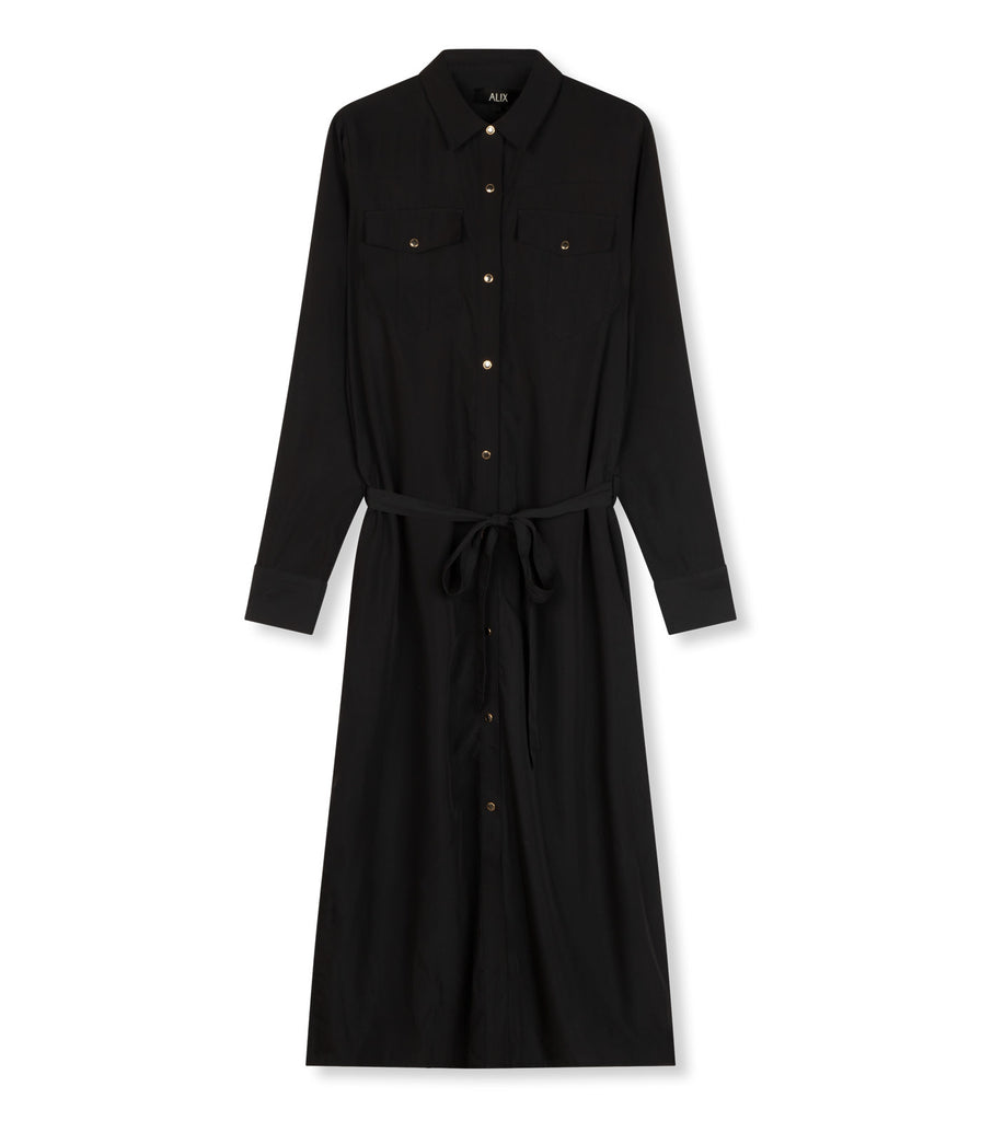 ALIX 'A' button dress - black