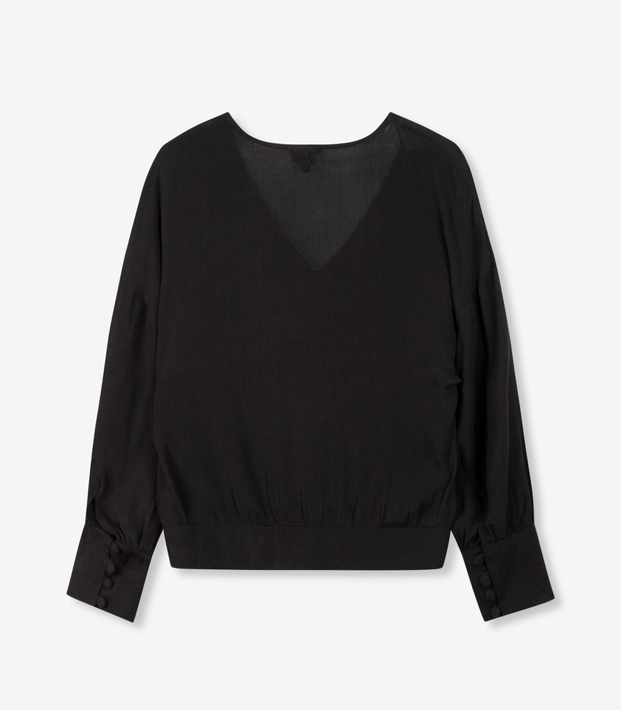 ALIX cropped button blouse - black