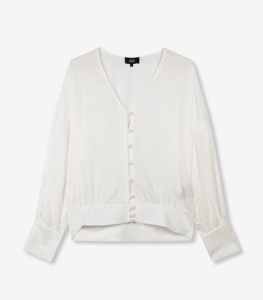 ALIX cropped button blouse - white