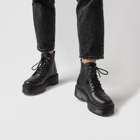 Bronx chunky lace boots black