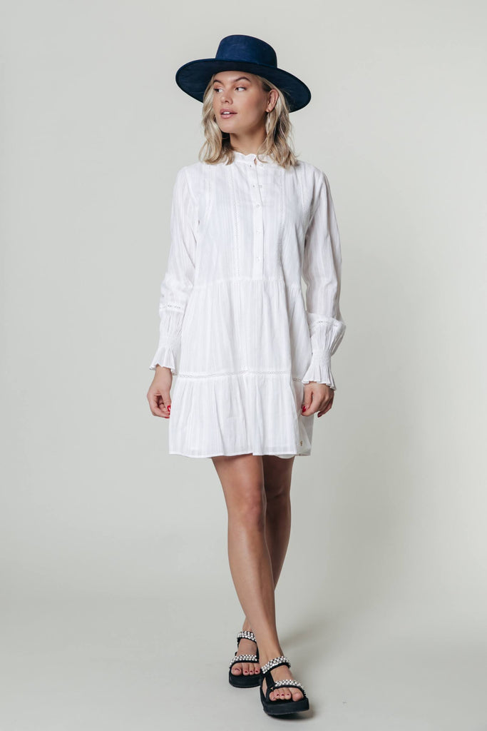 CR Ally Ruffle Dress - white