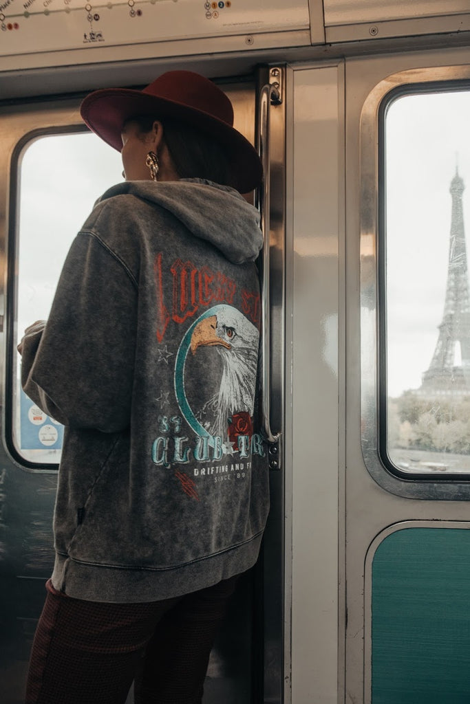 CR Eagle hoodie - acid wash