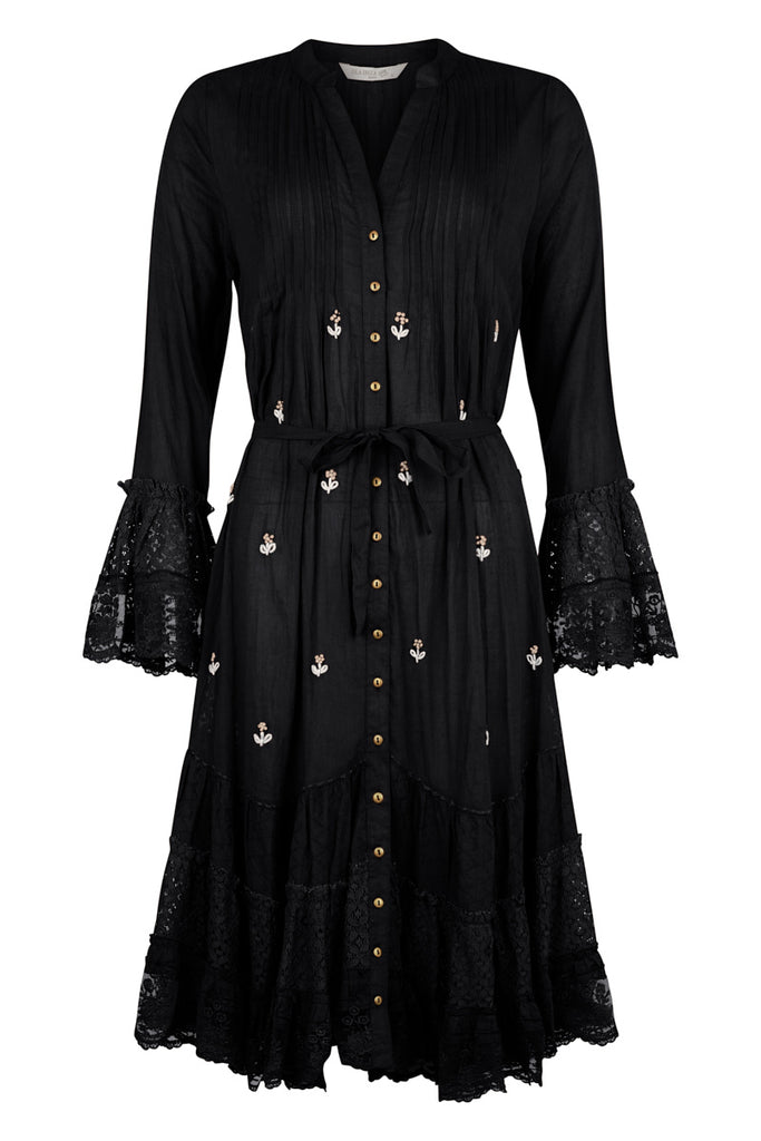 Isla Ibiza Black Embroidery Dress