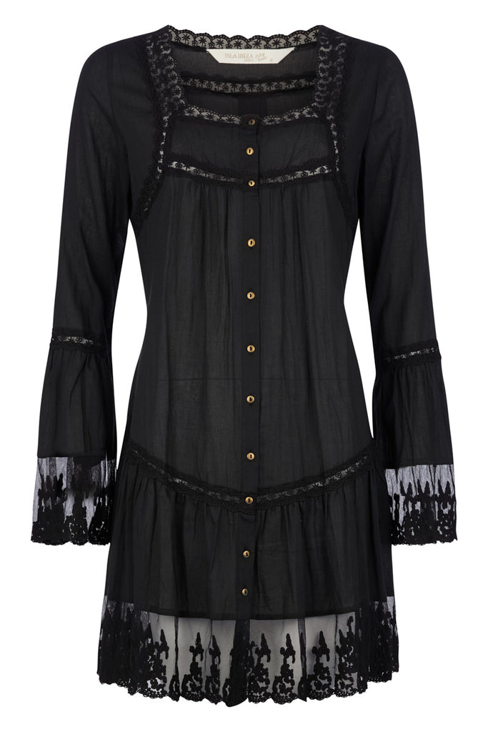 Isla Ibiza Lace Tunic Black