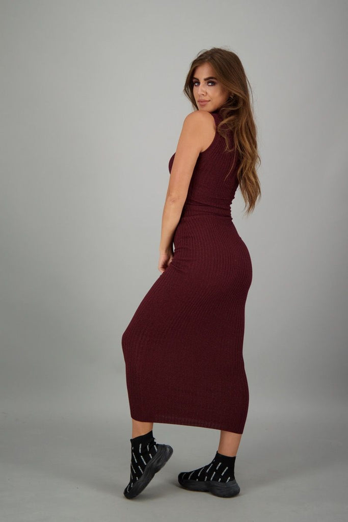 Coco Dress Lurex - burgundy