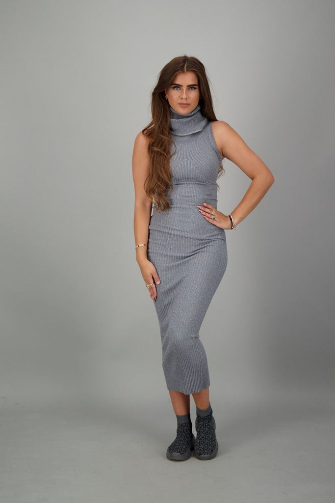 Coco Dress Lurex - metal grey