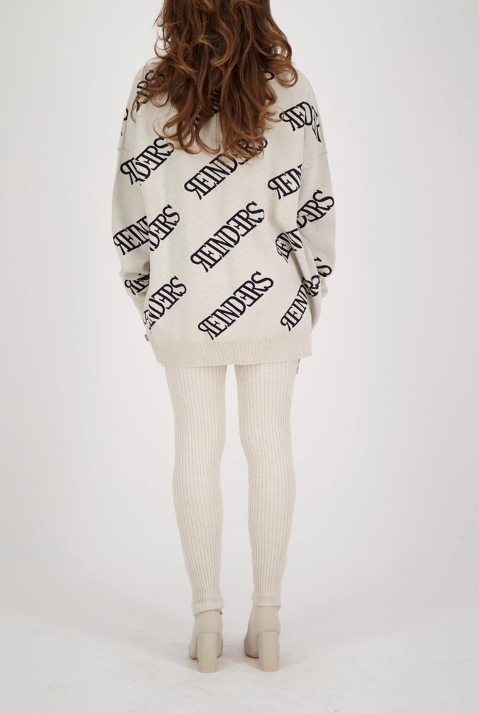 Wording Sweater - creme/black