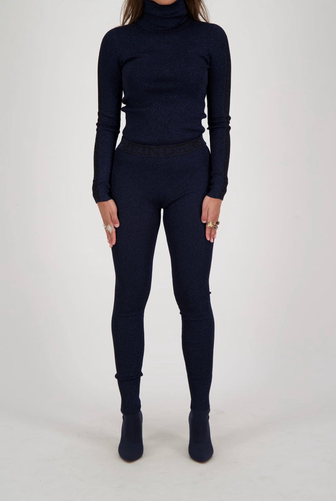 Entarsia Turtleneck Lurex - navy blue
