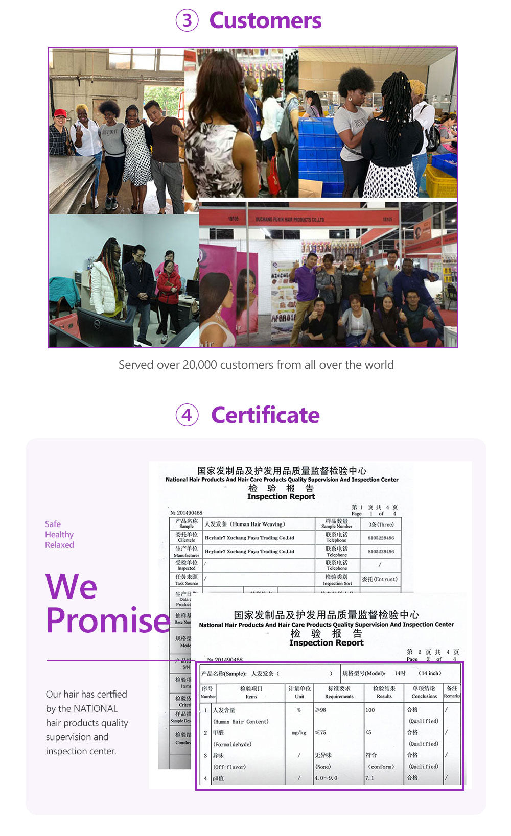 the certificate for 100 human hair