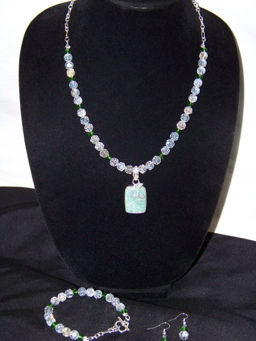 Aurora Borealis w/ Natural Amazonite Pendant Necklace Set