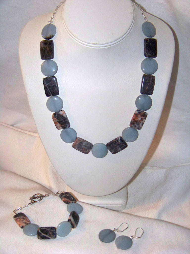 Calcite & Red Marble Necklace Set
