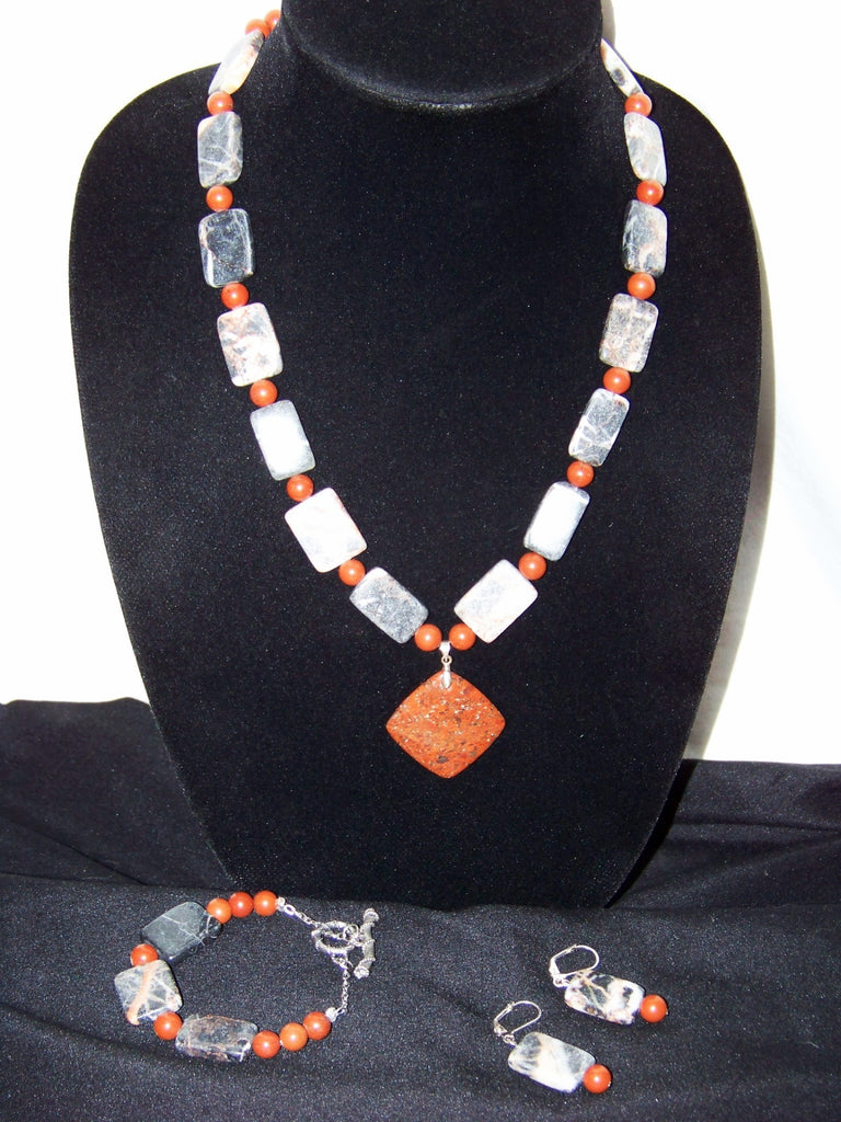 Red Jasper, Marble w/ Agate Pendant Necklace Set