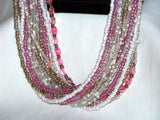 Pink Crystals & Glass Seed Bead Necklace