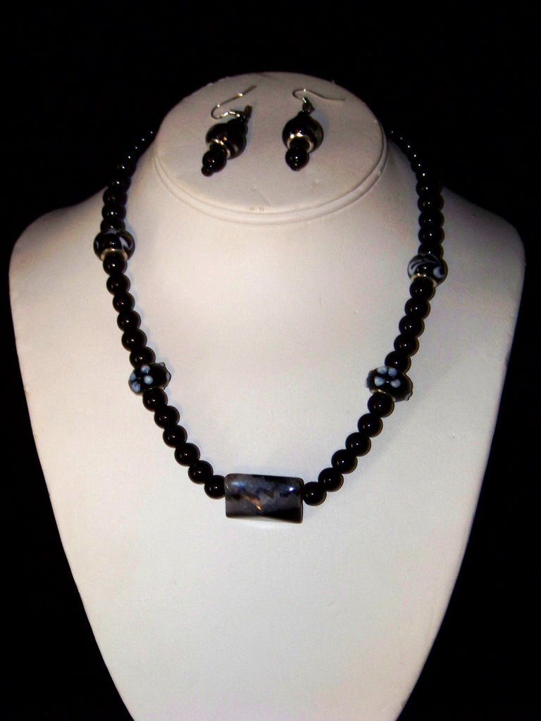 Vintage Black Crystal Necklace w/ Earrings