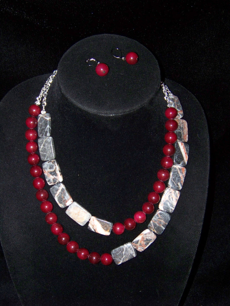 Red Marble w/ Red Agate Necklace & Earrings