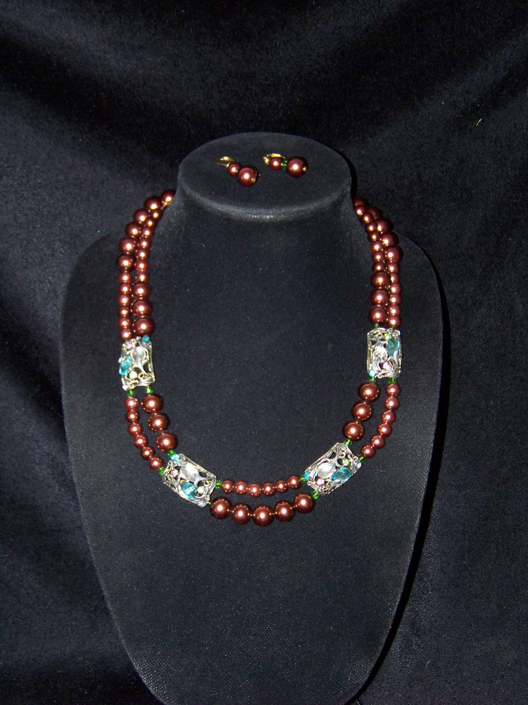 Double Strand Brown Crystal Necklace w/ Earrings