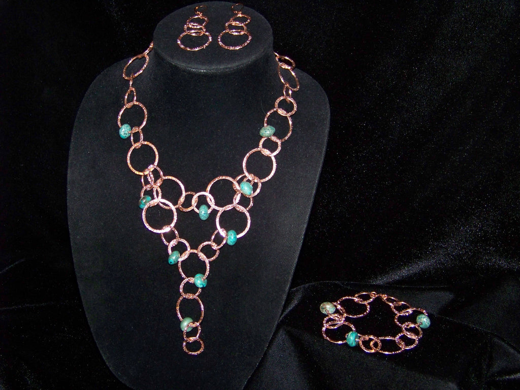 Copper Circle Necklace Set
