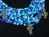 Multi Blue Seed Bead Necklace w/ Cross Earrings
