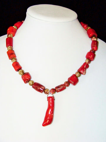 Coral Necklace w/ Coral Pendant