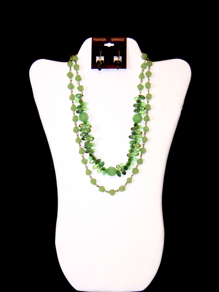 Lt. & Dk. Green Teardrop Necklace w/ Earrings
