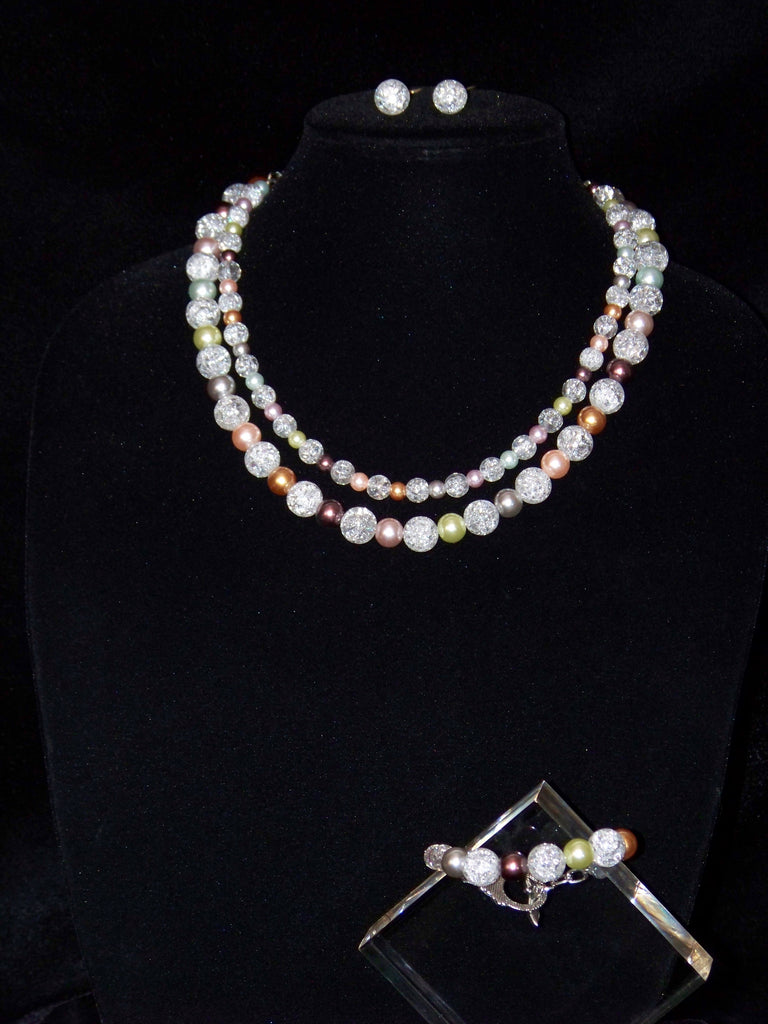 Crystal Crackle w Czech Crystal Pearls Necklace Set