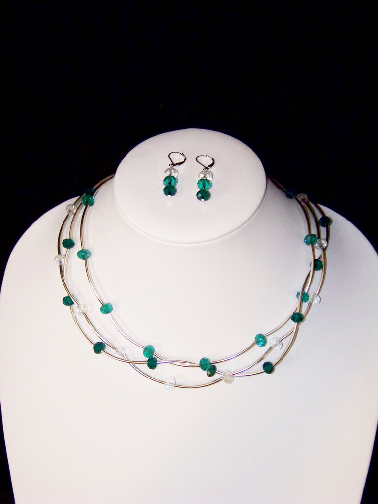 Triple Strand of Teal Crystal Necklace w Earrings