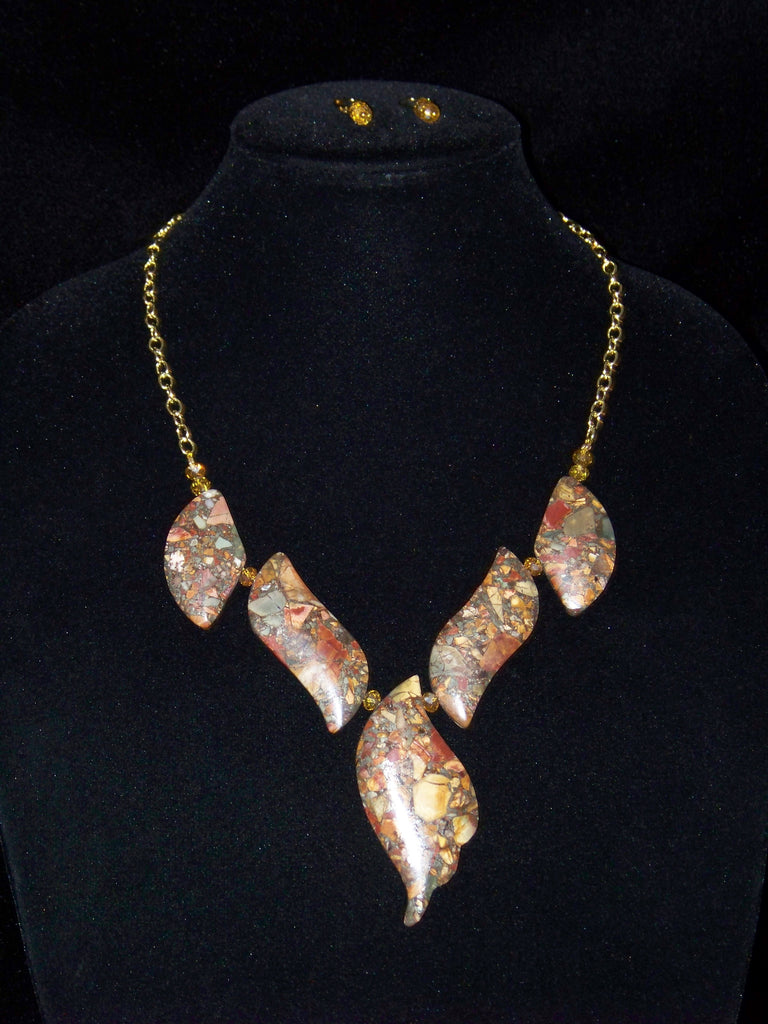 Picasso Jasper & Pyrite Necklace & Earrings