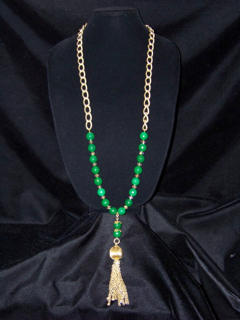 Green Jade Opera Necklace