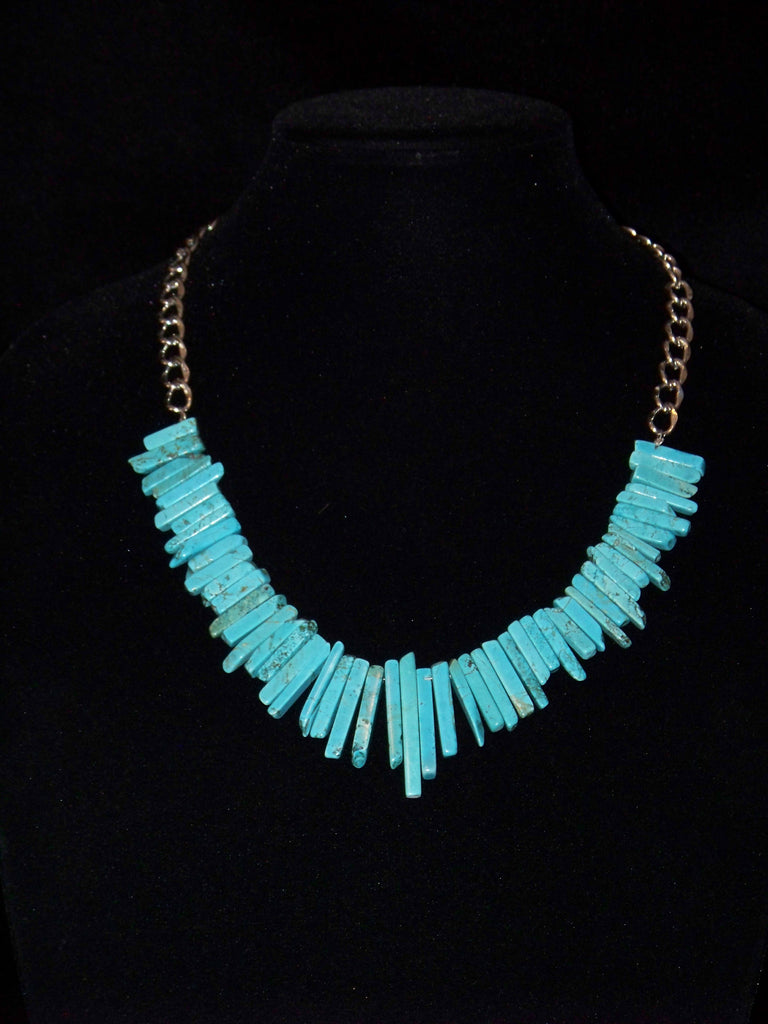 Blue Turquoise Stick Necklace