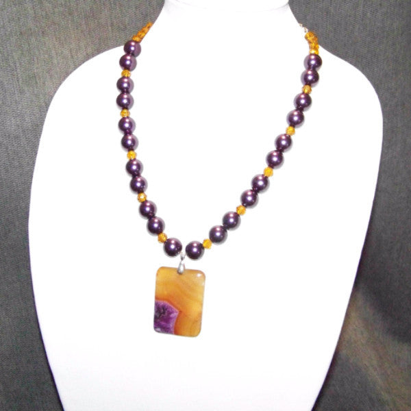Purple Onyx Druzy Necklace