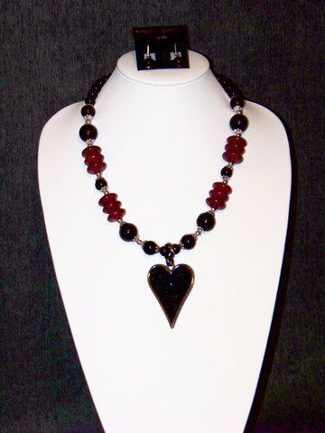 Black Heart Necklace w/ Earrings