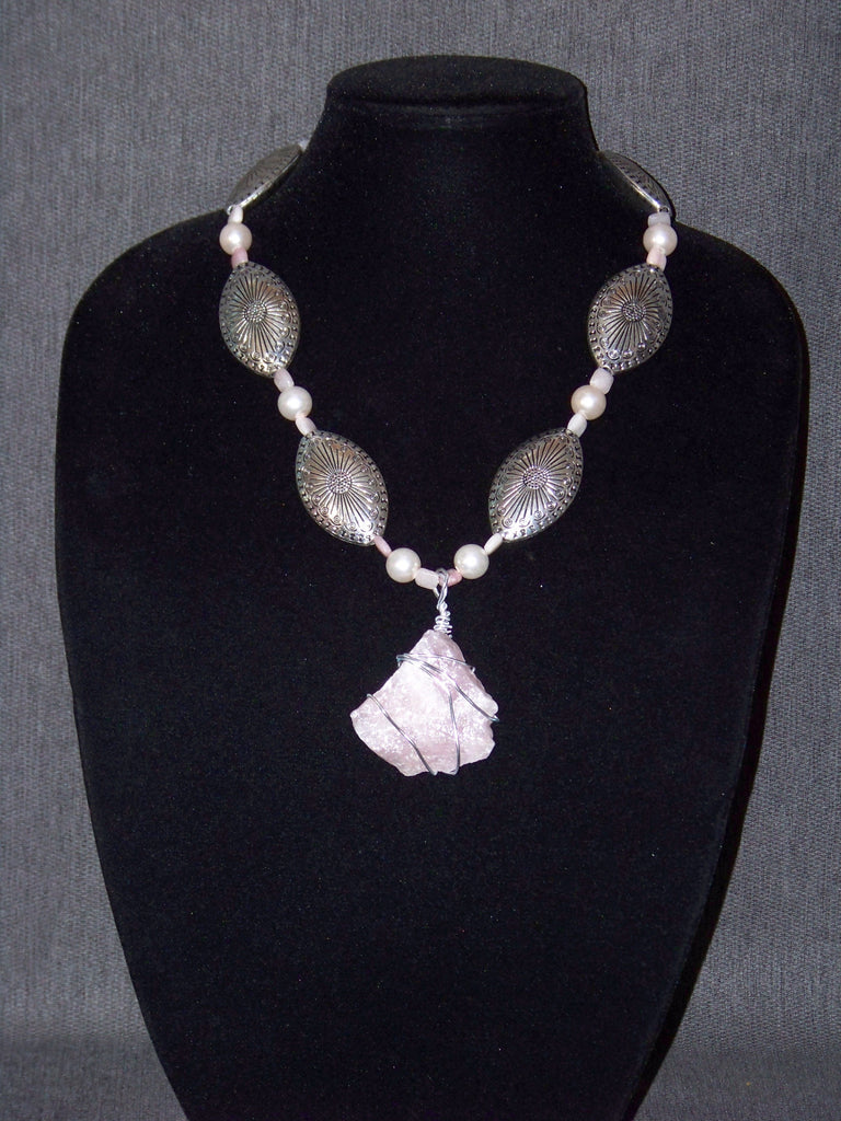 Pink Opal, Pink Pearls Necklace w/ Rose Quartz Pendant