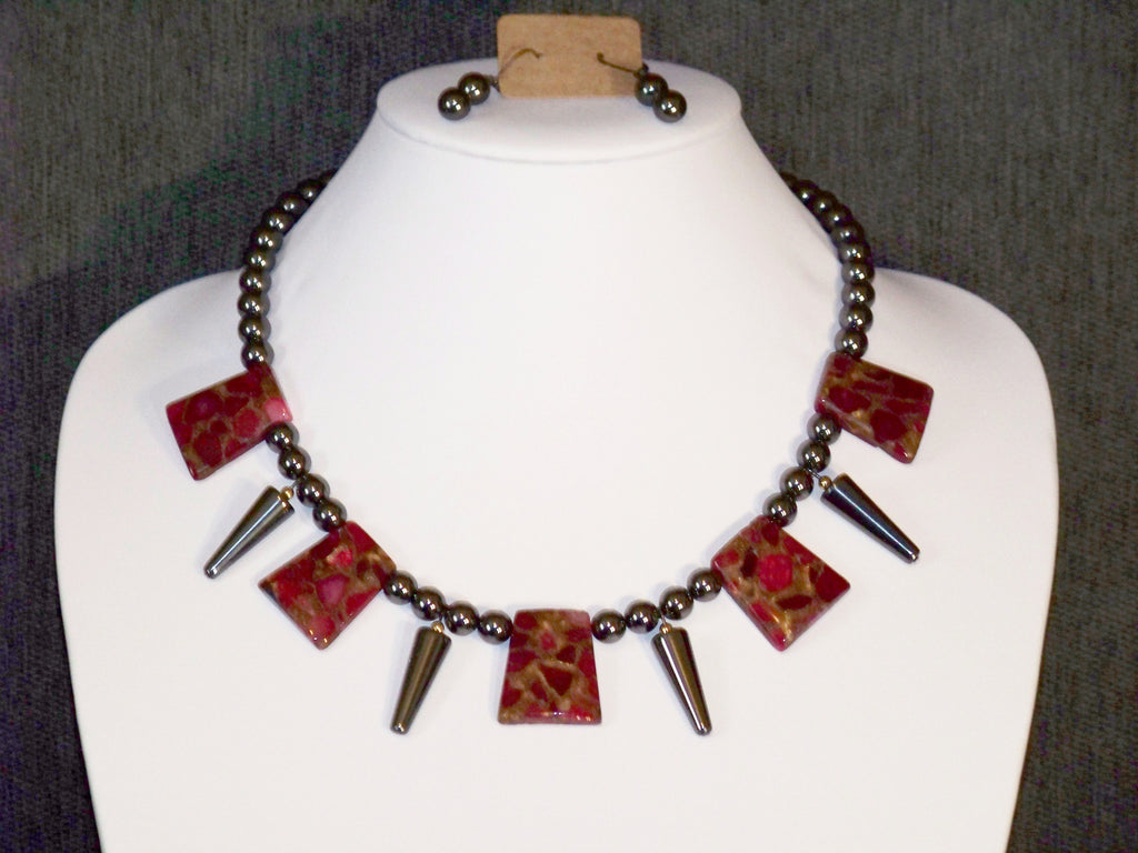 Ruby, Pyrite and Hematite Necklace w/ Earrings